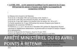 Arrêté Ministériel du 03 avril 2020 : Les points à retenir